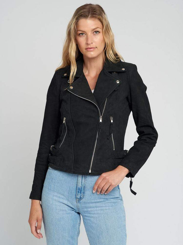 Sculpt Australia womens leather jacket Black Suede Leather Jacket
