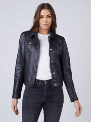Sculpt Australia womens leather jacket Black Trucker Leather Jacket
