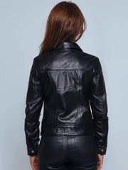 Sculpt Australia womens leather jacket Black Turn-down Collar Leather Jacket