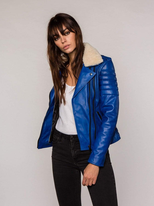 Sculpt Australia womens leather jacket Blue Fur Collared Leather Jacket