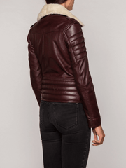 Sculpt Australia womens leather jacket Brown Fur Collared Leather Jacket
