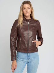 Sculpt Australia womens leather jacket Brown Quilted Leather Jacket