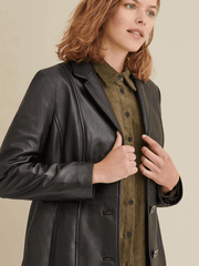 Sculpt Australia womens leather jacket Button Down Notch Collar Leather Jacket