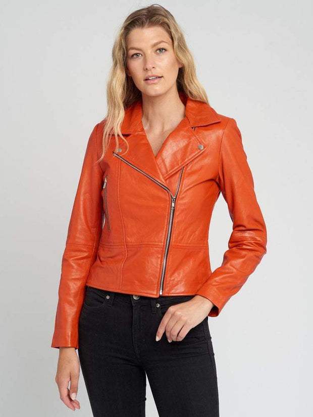 Sculpt Australia womens leather jacket Casual Orange Leather Jacket