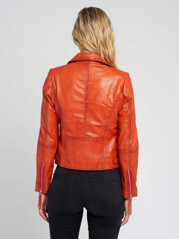 Sculpt Australia womens leather jacket Cathy Orange Leather Jacket