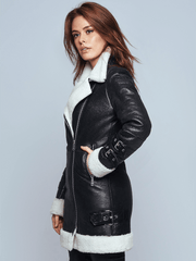 Sculpt Australia womens leather jacket Chloe Black Shearling Leather Jacket
