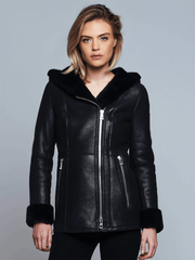 Sculpt Australia womens leather jacket Claire Black Shearling Leather Jacket