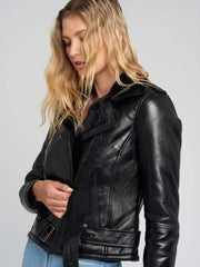 Sculpt Australia womens leather jacket Clara Black Fur Leather Jacket