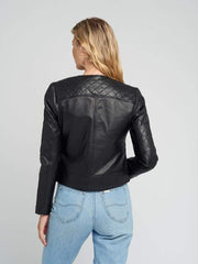 Sculpt Australia womens leather jacket Classic Black Quilted Leather Jacket