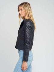 Sculpt Australia womens leather jacket Classic Navy blue Leather Jacket
