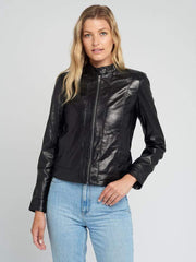 Sculpt Australia womens leather jacket Classic Snap Tab Collar Leather Jacket