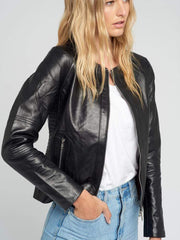 Sculpt Australia womens leather jacket Crew Neckline Black Leather Jacket