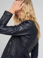 Sculpt Australia womens leather jacket Crew Neckline Blue Leather Jacket