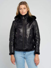 Sculpt Australia womens leather jacket Delia Black Fur Shearling Jacket
