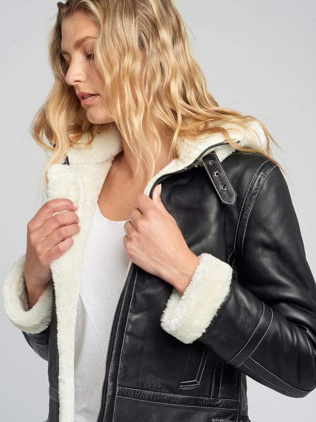 Sculpt Australia womens leather jacket Delia Detachable Fur Hood Leather Jacket