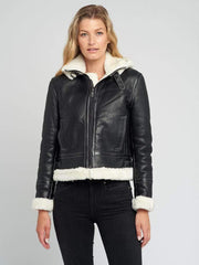 Sculpt Australia womens leather jacket Delia Detachable Hood Leather Jacket