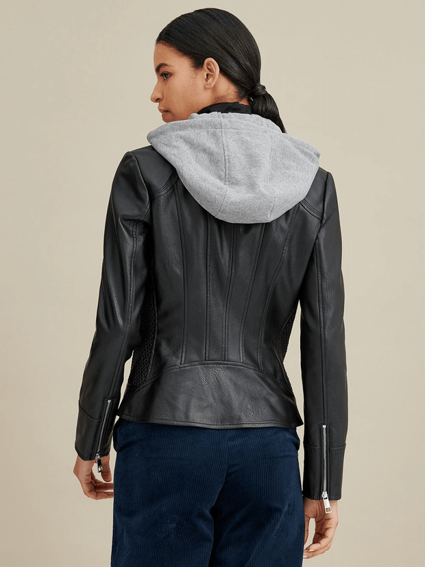 Sculpt Australia womens leather jacket Detachable Hooded Leather Jacket