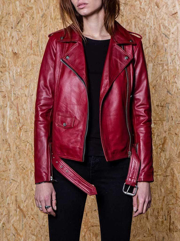 Sculpt Australia womens leather jacket Diane Red Biker Leather Jacket
