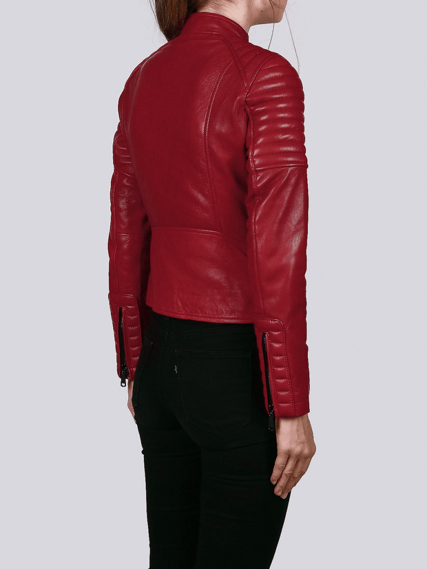 Sculpt Australia womens leather jacket Ella Red Biker Leather Jacket