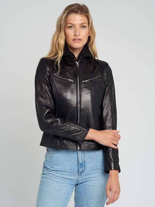Sculpt Australia womens leather jacket Emma Hooded Leather Jacket