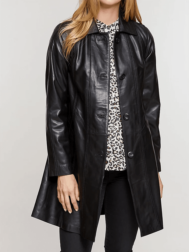 Sculpt Australia womens leather jacket Eva Collared Leather Coat