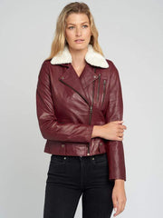 Sculpt Australia womens leather jacket Fur Collar women's Leather Jacket
