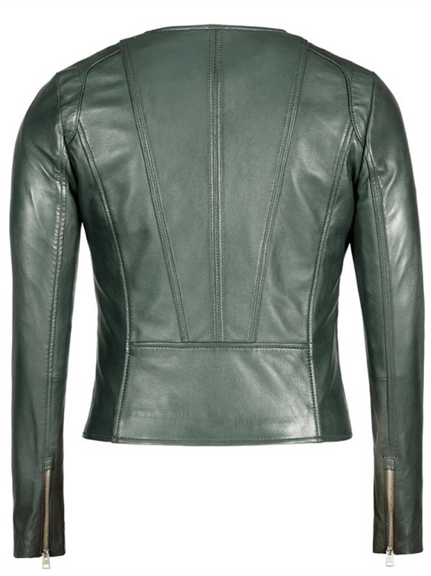 Sculpt Australia womens leather jacket Green Crew Neck Leather Jacket
