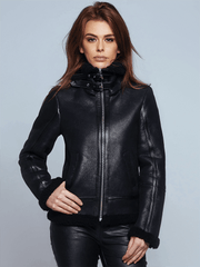 Sculpt Australia womens leather jacket Hannah Black Shearling Leather Jacket