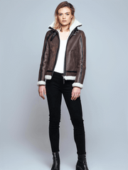 Sculpt Australia womens leather jacket Hannah Brown Shearling Leather Jacket