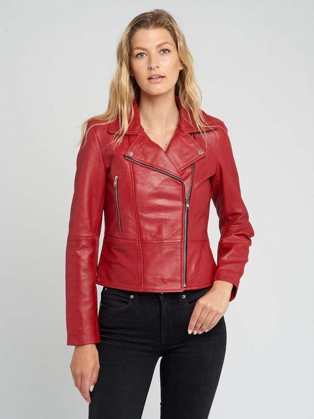 Sculpt Australia womens leather jacket Hazel Casual Red Leather Jacket