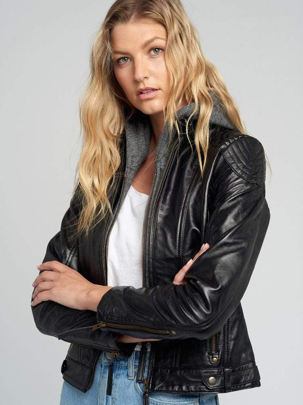 Sculpt Australia womens leather jacket Indiana Black Hooded Leather Jacket