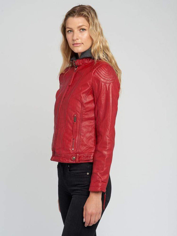 Sculpt Australia womens leather jacket Indiana Red Hooded Leather Jacket