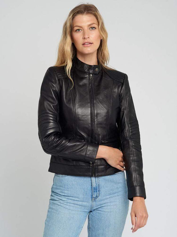 Sculpt Australia womens leather jacket Kathleen Quilted Shoulder Leather Jacket