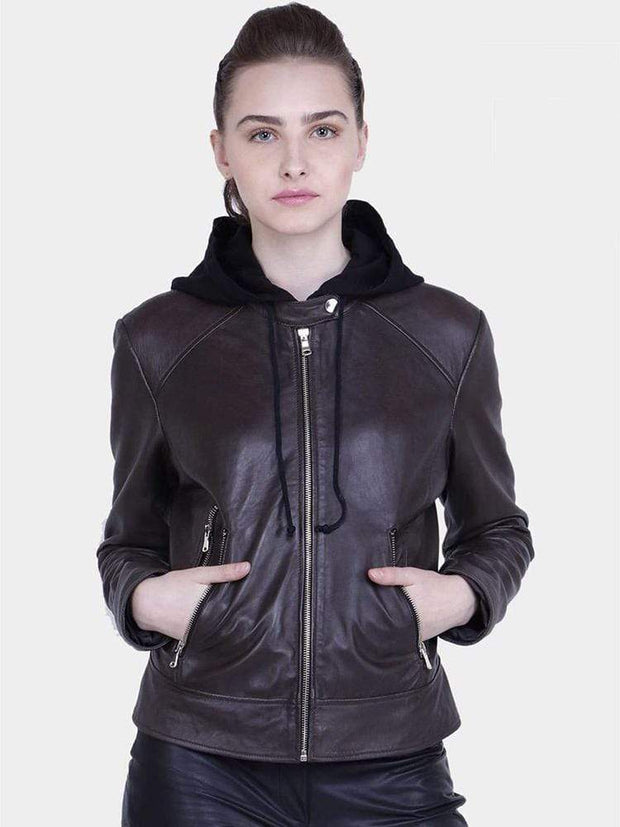 Sculpt Australia womens leather jacket Kathy Brown Hooded Leather Jacket