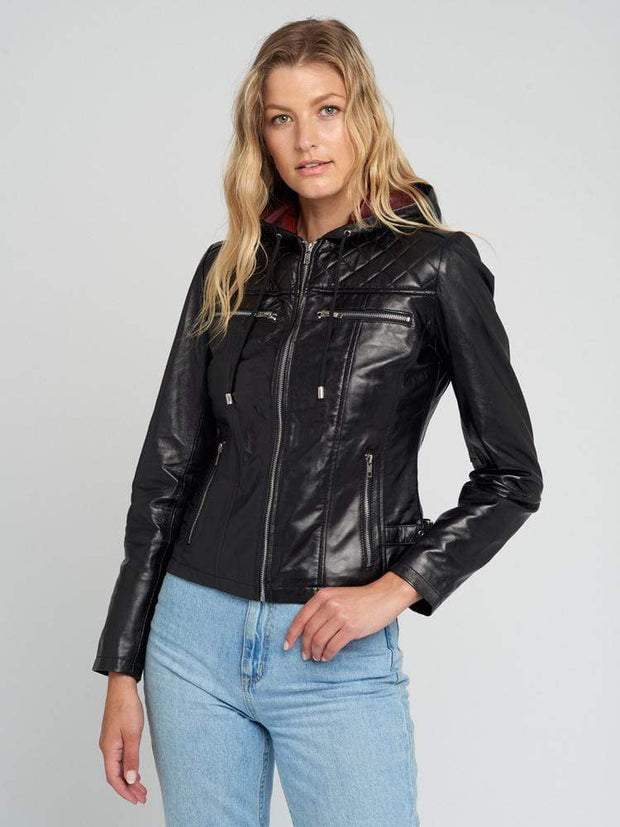 Sculpt Australia womens leather jacket Kendell Hooded Leather Jacket