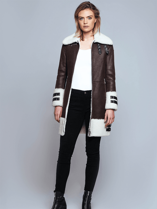 Sculpt Australia womens leather jacket Lara Brown Shearling Leather Coat