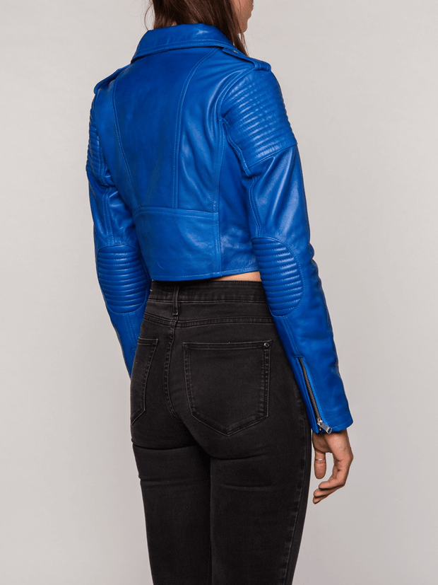 Sculpt Australia womens leather jacket Lily Blue Biker Leather Jacket