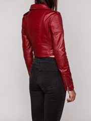 Sculpt Australia womens leather jacket Lily Red Biker Leather Jacket