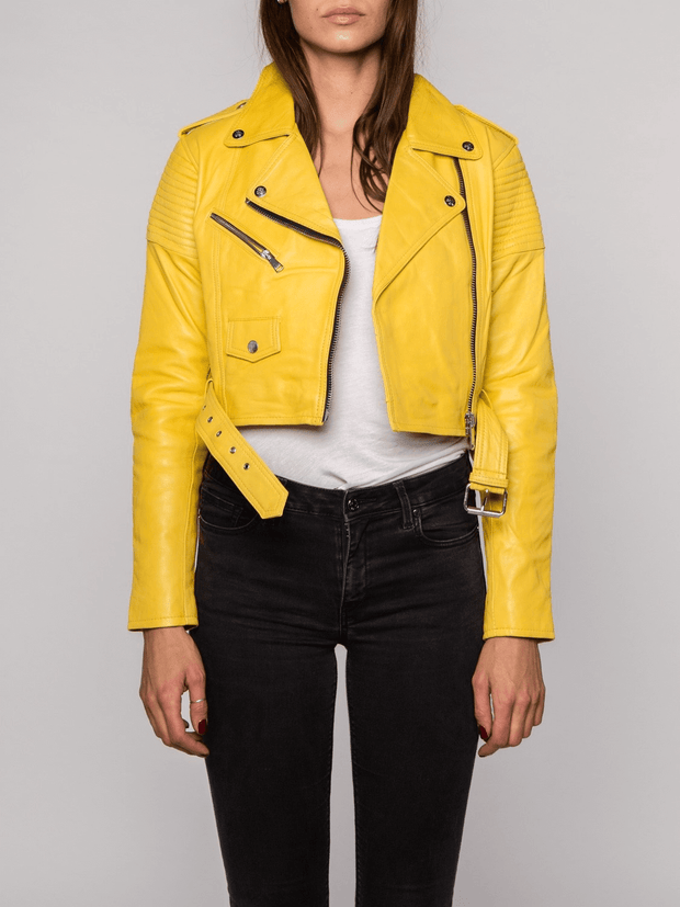 Sculpt Australia womens leather jacket Lily Yellow Biker Leather Jacket