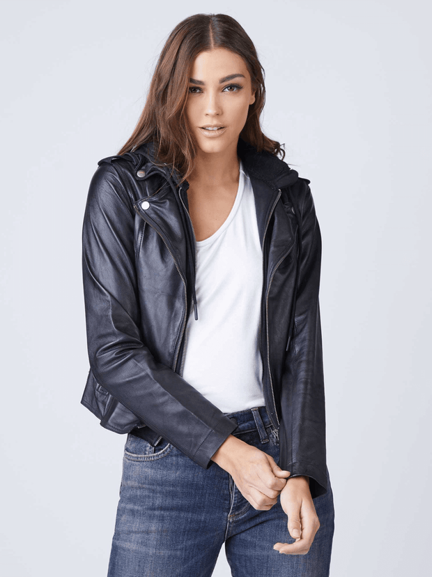 Sculpt Australia womens leather jacket Liza Black Hooded Leather Jacket