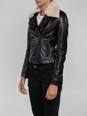 Sculpt Australia womens leather jacket Lyla Fur Collared Leather Jacket