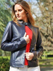 Sculpt Australia womens leather jacket Mandarine | Navy blue Women's leather jacket