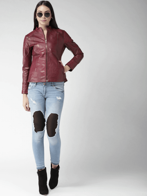Sculpt Australia womens leather jacket Maroon Biker leather jacket