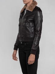 Sculpt Australia womens leather jacket Nia Fur Collared Leather Jacket