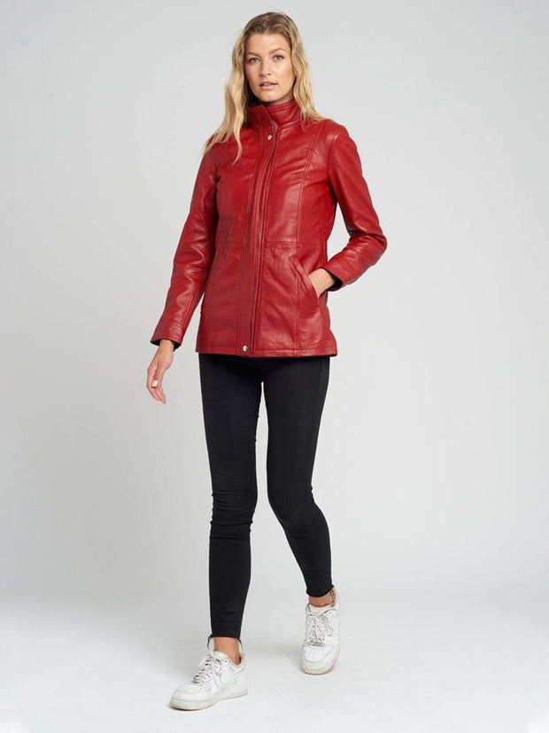 Sculpt Australia womens leather jacket Nova Red Lambskin Leather jacket