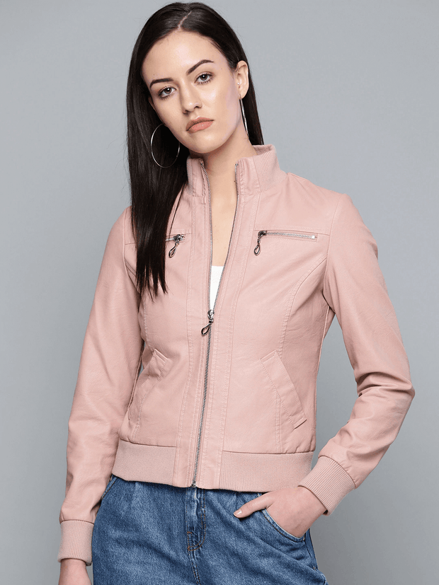 Sculpt Australia womens leather jacket Pink Solid Bomber Leather Jacket