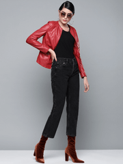 Sculpt Australia womens leather jacket Red Crew Neck Leather Jacket