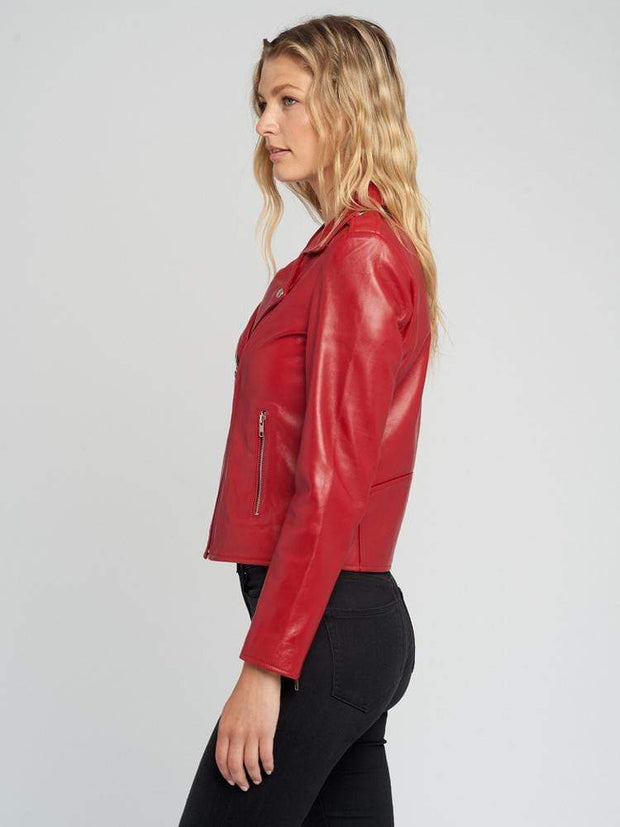 Sculpt Australia womens leather jacket Red Designer Ladies Leather Jacket