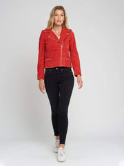 Sculpt Australia womens leather jacket Red Suede Leather Jacket