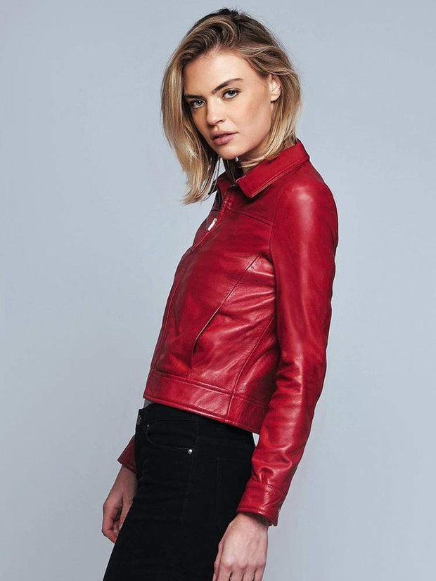 Sculpt Australia womens leather jacket Red Turn-down Collar Leather Jacket